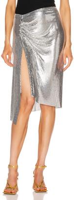 Paco Rabanne Draped Mesh Skirt in Silver | FWRD