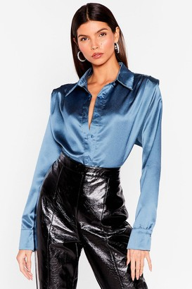Nasty Gal Womens A Weight Off Your Shoulder Pad Satin Shirt - Black - S