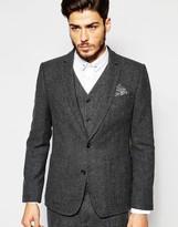 Asos Slim Blazer In 100% Wool In Charcoal