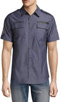 Ecko Unlimited Unltd Short Sleeve Patchwork Button-Front Shirt