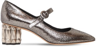 Salvatore Ferragamo 55MM ORTENSIA CRACKLED LEATHER PUMPS