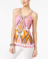 INC International Concepts Petite Embellished Printed Blouse, Created for Macy's