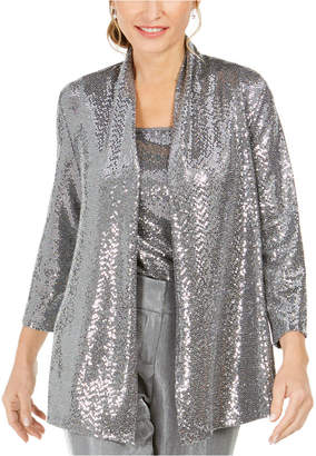 Kasper Metallic Open-Front Jacket
