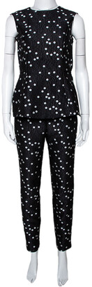 Carolina Herrera Black Polka Dot Peplum Top & Pant Set XS