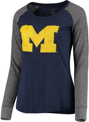 Unbranded Women's Navy Michigan Wolverines Preppy Elbow Patch Slub Long Sleeve T-Shirt