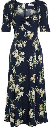Reformation Matin Gathered Floral-print Crepe Midi Dress