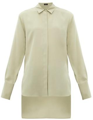 Joseph Oldfield Silk Crepe De Chine Shirt - Womens - Light Green