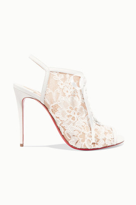 Christian Louboutin Mariee A Colmar 100 Guipure Lace And Leather Ankle Boots - White