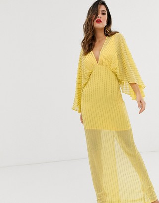 Asos Design DESIGN kimono maxi dress in linear sequin-Yellow