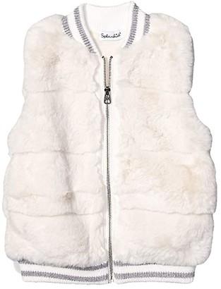 Splendid Littles Yarn-Dyed Rib Faux Fur Vest (Toddler/Little Kids) (Off-White) Girl's Vest
