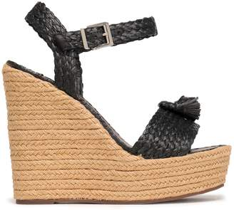 Schutz Braided Raffia Wedge Espadrille Sandals