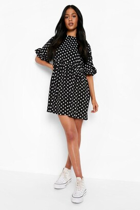 boohoo Tall Polka Dot Smock Dress
