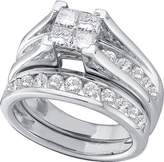 Saris and Things 14kt White Gold Womens Princess Diamond Bridal Wedding Engagement Ring Band Set 1.00 Cttw