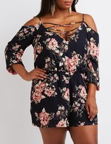 Charlotte Russe Plus Size Floral Lattice Cold Shoulder Romper
