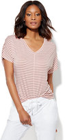 New York & Co. Lounge - Hi-Lo V-Neck T-Shirt - Stripe