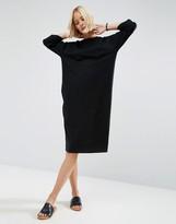 Asos Midi Cotton T-Shirt Dress with Raglan Sleeve & Boat Neck