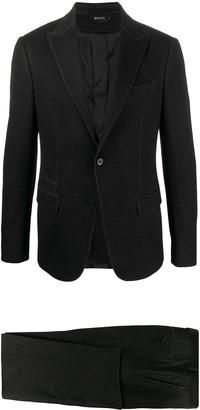 Ermenegildo Zegna Textured Style Pleat Detail Suit