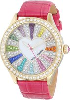 Betsey Johnson BJ00131-29 Women's Colorful Crystal Accented White MOP Dial Pink Leather Strap Watch