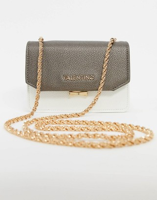 Mario Valentino Valentino by Sfing shoulder bag with contrast flap and chain strap in white