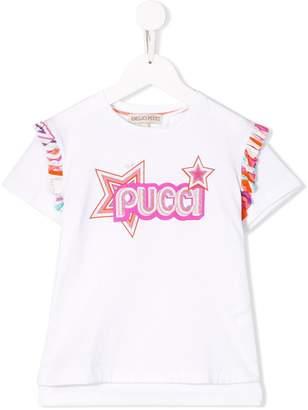 Emilio Pucci Junior Star Print Ruffled Logo T-shirt