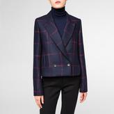 Paul Smith Women's Cropped Navy Windowpane Check Wool-Cashmere Blazer