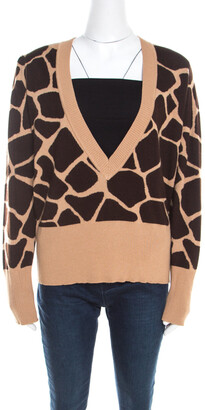 Escada Beige and Brown Giraffe Pattern Wool and Silk Knit Plunge V Neck Sweater L