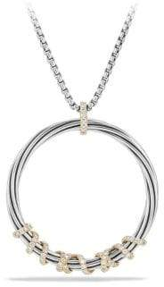 David Yurman Helena Large Pendant Necklace with Diamonds and 18K Gold