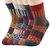 Zando Womens Cabin Winter Warm Thick Knit Wool Cozy Crew Socks Casual Vintage Style Mid Calf Socks 6-11(US)