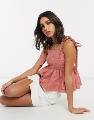 ASOS DESIGN square neck smock cami with tie straps in textured grid in rose-No Color