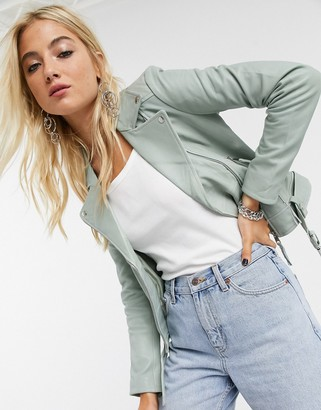 Barneys New York belted leather jacket in mint