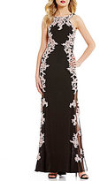 Xscape Evenings Lace Applique Halter Sleeveless Gown
