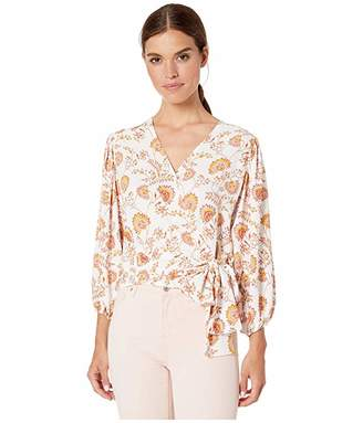 1 STATE 1.STATE Long Sleeve Wrap Front Petal Leaf Garden Blouse