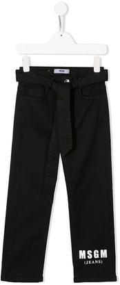 Msgm Kids Logo Print Straight Jeans