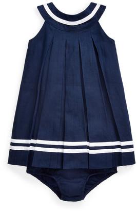 Ralph Lauren Childrenswear Linen Pleated Dress w/ Bloomers, Size 6-24 Months