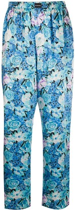 Balenciaga Floral-Print Silk Trousers