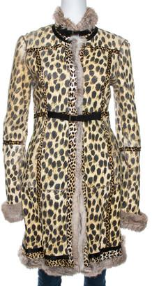 Roberto Cavalli Beige Rabbit Fur Belted Coat S