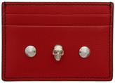 Alexander McQueen Red Skull and Stud Card Holder