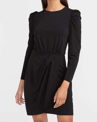 Express Puff Sleeve Wrap Front Sheath Dress