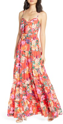 Eliza J Floral Tie Front Tiered Maxi Sundress
