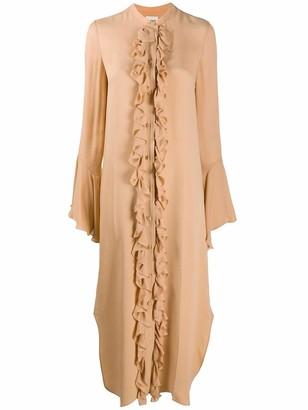 KHAITE Callen Ruffle Front Midi Dress