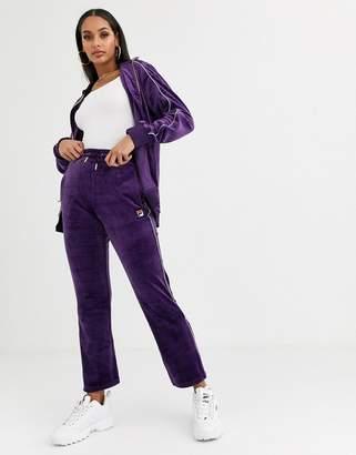 Fila tracksuit bottoms in velvet co-ord-Purple
