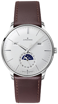 Junghans 027/4200.01 Meister Calendar Leather Strap Watch, Dark Brown/white