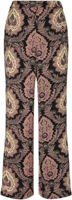 Traffic People Paisley Straight Leg Trousers In Black And Purple