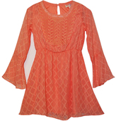 Sequin Hearts Coral Embroidery-Accent Bell Sleeve A-Line Dress - Girls