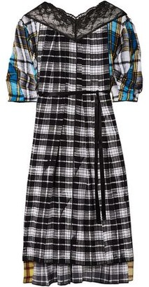 Marc Jacobs Lace-trimmed Patchwork Checked Silk Crepe De Chine Midi Dress
