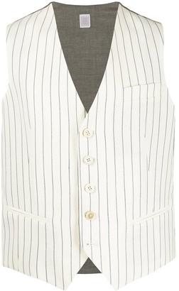Eleventy V-neck striped waistcoat