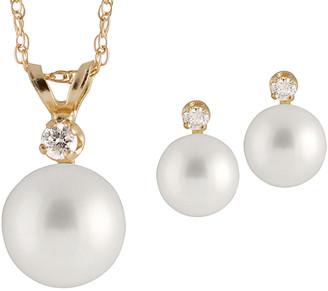Splendid Pearls 14K Diamond & 6-6.5Mm Freshwater Pearl Necklace & Earrings Set