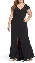 Xscape Evenings Plus Size Women's Illusion Inset Cold Shoulder Jersey Gown