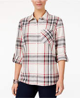 Style&Co. Style & Co Style & Co Petite Cotton Tab-Sleeve Plaid Shirt, Created for Macy's