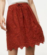 LOFT Floral Embroidered Drawstring Skirt